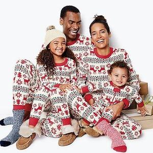 WENYUJH Family Christmas Matching Pajamas Set 2020 Xmas Print Adult Kids Pyjamas Nightwear Baby Romper Merry Christmas Outfits