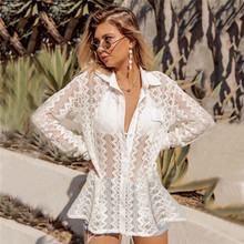 Women Sexy Lace Bikini Beach Shirts Tops Lady Hollow-Out See Through Swimsuit Blouses Bikini Cover up Summer Sun Protection Tees