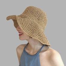 シンプルな女の子ラフィア太陽の帽子ツバ広フロッピー夏女性ビーチパナマわらドームバケツ帽子ファムシェード帽子