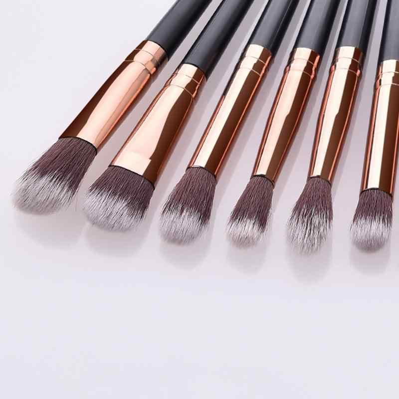 1/12 Pcs Make-Up Kwasten Kit Voor Oogschaduw Wenkbrauw Wimper Eyeliner Luxe Champagne Roze Zwarte Make Up Borstel Cosmetische beauty Tool