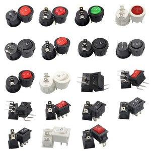 5/10pcs KCD1 23MM Round Rocker Switch 2/3Pin ON-OFF-ON 2/3 Position 6A/250V 3A/250V SPST LED Car Push Button Switch With Light