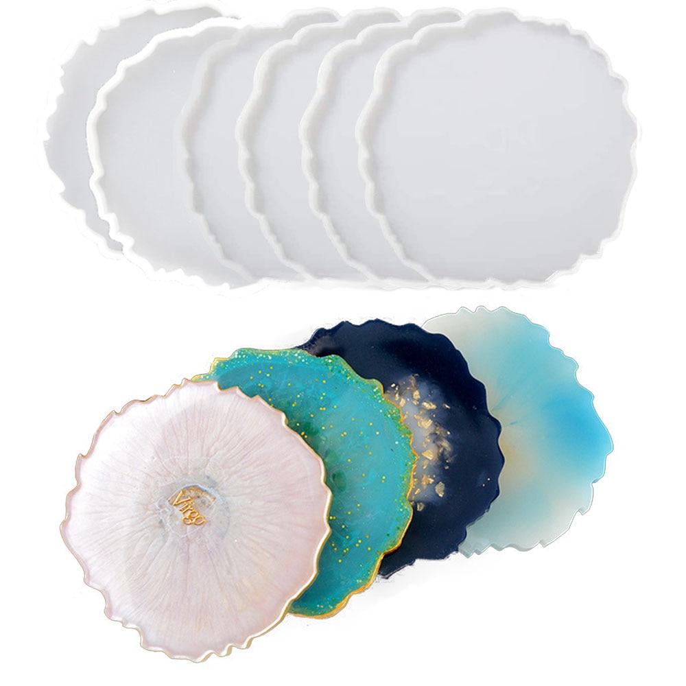 Coaster irregular criativo molde de silicone resina cola epoxy moldes de fundição para fazer falso ágata coasters diy decoração para casa tapetes copo