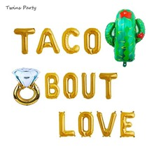 Twins Party 16 Gold Taco Bout A Ring Foil Balloons Bachelorette Fiesta Banner Cactus Theme Bridal Shower Supplies