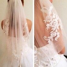 NUOXIFANG белый слоновая кость кружева аппликация горный хрусталь фата с расческой свадебные женщины элегантный повязки для волос один слой цветочные вышивать