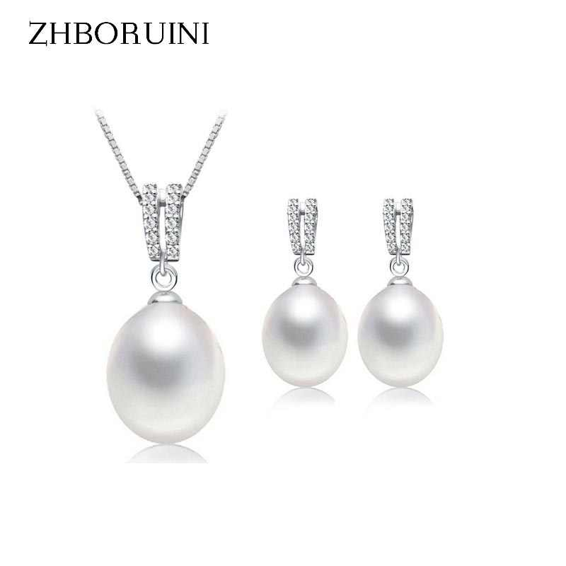 ZHBORUINI 2019 Pearl Jewelry Set Natural Freshwater Pearl Necklace Drop Earrings Zircon 925 Sterling Silver Jewelry For Women