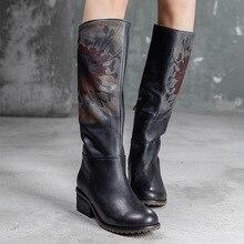 Artdiya genuine leather handmade retro women shoes autumn/winter 2019 cow leather round toe flower women boots T58533-26 цена 2017