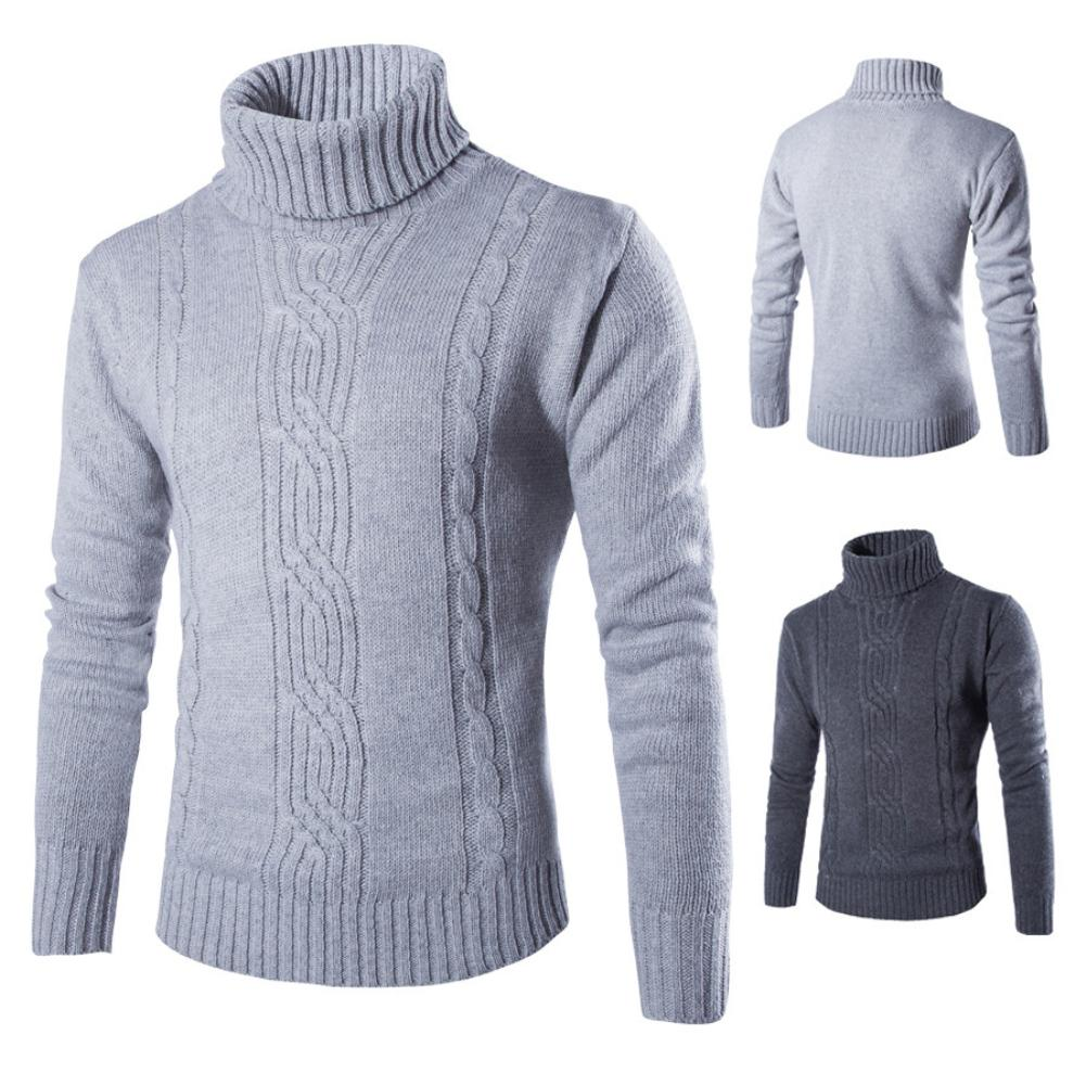 2020 Men's Solid Color Turtleneck Lapel Long Sleeve Knit Loose Pullover Bottoming Shirt Cold Warm Sweater