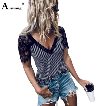 Plus Size 2xl Womens T-shirt Striped Print Lace Splice Short Sleeve Female Tops 2020 Summer New V-neck Casual Tee Shirt Femme kids slogan print striped tee with jeans