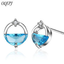 OQEPJ Trendy Round Blue White Crystal Design Water Earring 925 Sterling Silver Party Simple Cute For Women Jewelry Gift