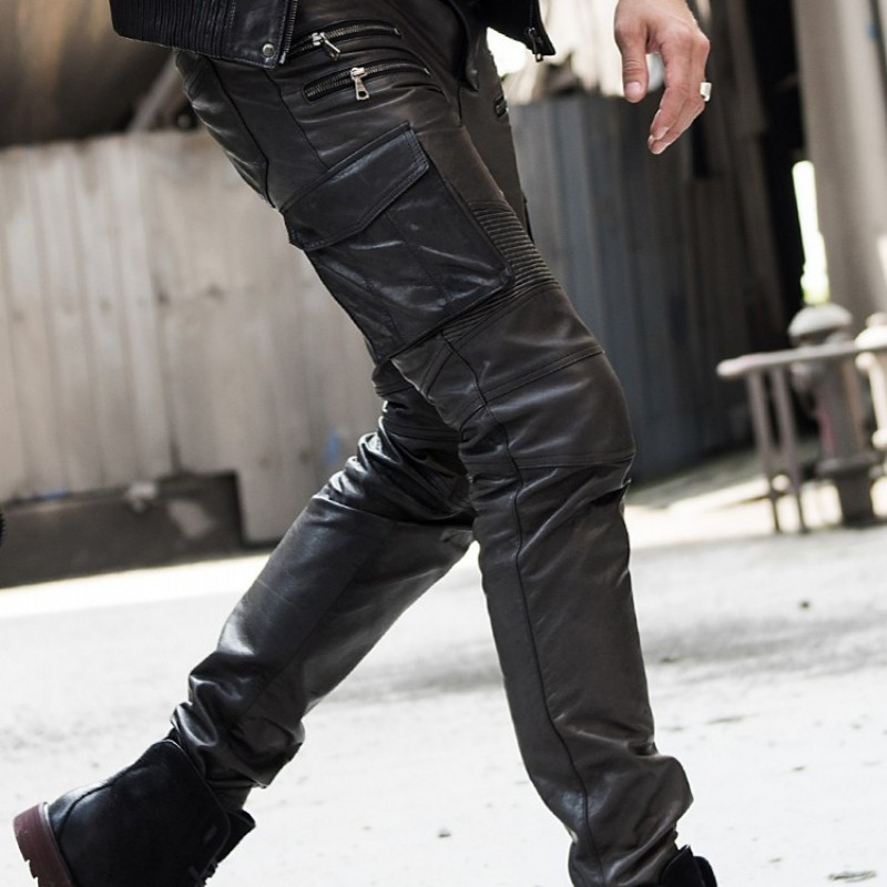 Men's Autumn Winter Sheepskin Leather Leather Pencil Pants Multi Bag Tactical Pants Leather Motorcycle Cut Narrow Pants Pants
