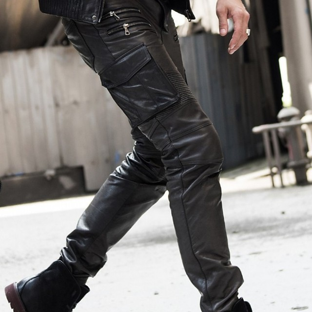 Men's autumn winter sheepskin leather leather pencil pants multi bag tactical pants Leather Motorcycle cut narrow pants pants 1