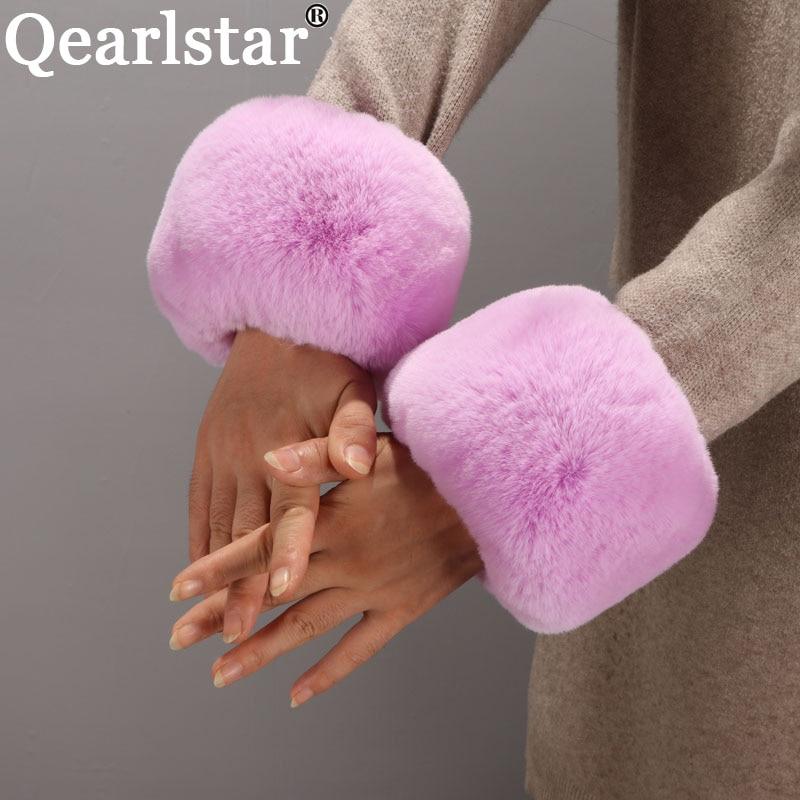 100% High Quality Faux Rabbit Cuff Fur Wrist Sleeve Decor Jackets Sleeve Hand Ring Fur Arm Oversleeves Elastic Bracelet ZKG34