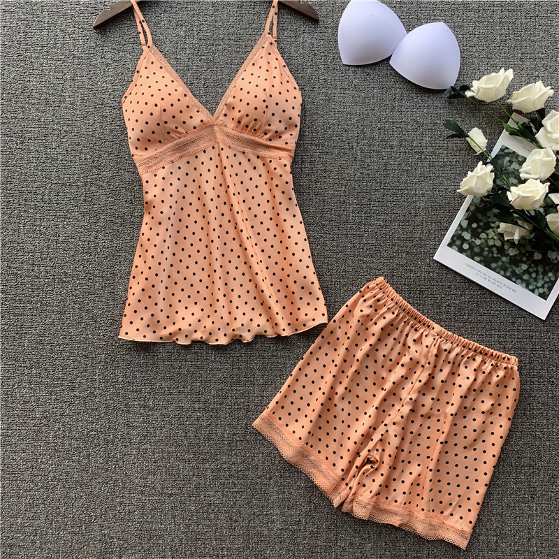 New Erogenous Zone Chest Pad Pajamas Female Xia Ins Ice Silk Suspender Shorts Two-piece Home Clothing Pijama Mujer Pijama -AL