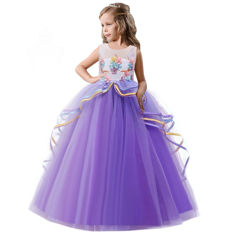 Rainbow Unicorn Cosplay Girl Dress Party Elegant Flower Lace Long Tutu Formal Ball Gown Princess Baby Dresses 5 7 8 12 14 Years 2