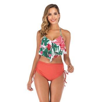Sexy Ruffle Bikinis Women Swimsuit 2020 High Waist Bikini Swimwear White Bathing Suits Summer Beach Wear Swimming Suit For Women 4