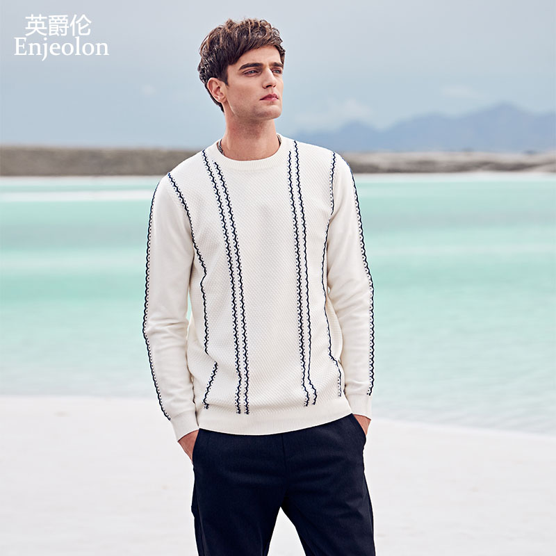 Enjeolon Brand Autumn Winter Sweater Men O-neck Contrast Color Casual Slim Fit Knitted Pullovers Male Tops Men Clothes MY3260