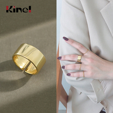 Kinel Real 925 Sterling Silver 18K Gold Ring Ladies Minimalism Glossy Open Wide Simple Finger Bijoux