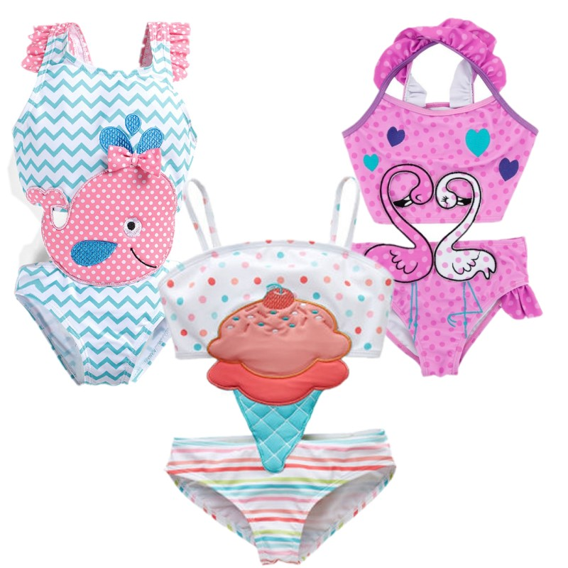 New Drop Ship One Piece Swimsuit For Girl Children Beach Wear Body Swimwear Mother Whale Cartoon Bathing Suit Baby Bikini