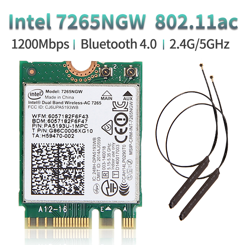 867Mbps Laptop M.2 Wifi Card Wireless 2.4G/5Ghz  For Intel 7265 7265NGW 802.11ac 2x2 WiFi + Bluetooth BT 4.0 NGFF With Antennas