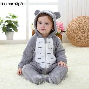 Image 3 - ベビーロンパース kigurumis 少年少女幼児ロンパーストトロ衣装グレーパジャマジッパー冬服幼児かわいい衣装猫ファンシー