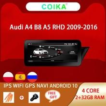 Android 10.0 ระบบGPS ReceiverสำหรับAudi A4 A5 2009 2016 RHDกระจกIPSหน้าจอGoogle CarPlay WIFI BT SWC DVRมัลติมีเดีย