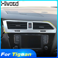 Hivotd For VW Tiguan MK2 2019 2018 Front Dashboard Central Air Conditioner AC Vent Outlet Cover Kit Trim auto Accessories