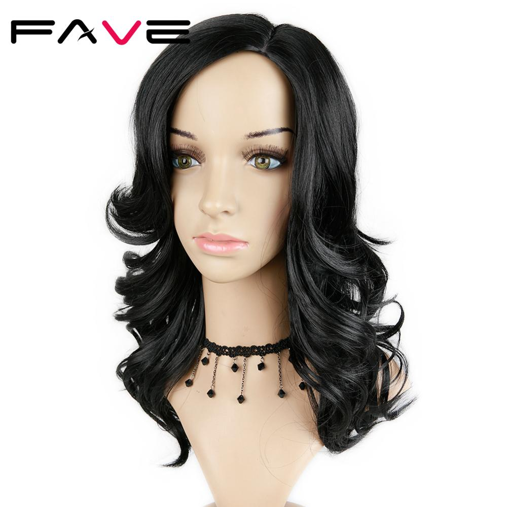 FAVE Side Part Natural Wave Synthetic Wigs Natural Black Color 18 Inch For Black/White Women Heat Resistant Cosplay Wig