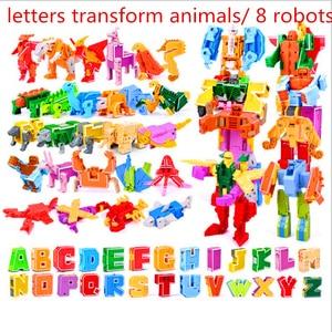 Image 1 - 26 Engels Letters Transformeren/Vervorming In Dinosaurussen/Dieren 8 Robots Creatieve Actiefiguren Bouwsteen Speelgoed Kinderen Geschenken