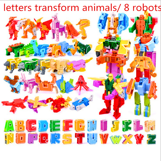 26 Engels Letters Transformeren/Vervorming In Dinosaurussen/Dieren 8 Robots Creatieve Actiefiguren Bouwsteen Speelgoed Kinderen Geschenken
