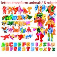 26 English Letters Transform/deformation into dinosaurs/Animals 8 robots Creative Action Figures Building Block toy Kids gifts