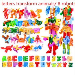 Image 1 - 26 English Letters Transform/deformation into dinosaurs/Animals 8 robots Creative Action Figures Building Block toy Kids gifts