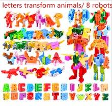 26 İngilizce harfler dönüşümü/deformasyon içine dinozorlar/hayvanlar 8 robotlar yaratıcı aksiyon figürleri yapı taşı oyuncak çocuk hediyeler