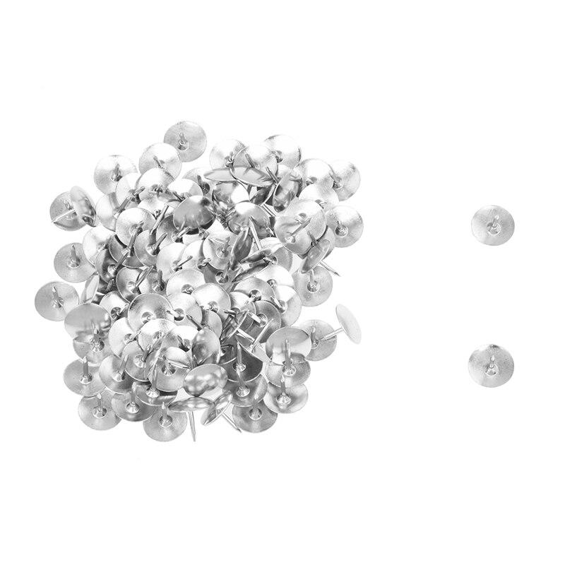100Pcs Silver Tone Corkboard Photo Push Pins Thumb Tacks