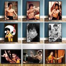 Chinês kung fu estrela bruce lee pintura da lona cartazes e cópias da arte parede fotos para sala de estar cuadros decoração casa