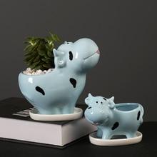 Милый мультфильм мини корова цветок горшок керамика цветочный горшок суккулент растение горшок зеленый кашпо маленький бонсай дом украшение