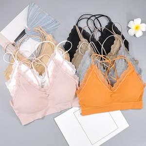 Top-Bra Underwear Bandeau-Top Tube Cropped-Top Seamless Women Sexy 1PC Cross-Back-Tank