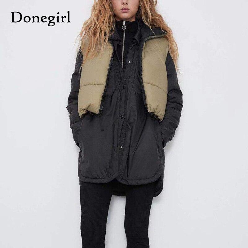 Зимний укороченный жилет, пальто, женская модная теплая парка без рукавов, жилет с высоким воротником, Женская Повседневная Верхняя одежда, ...