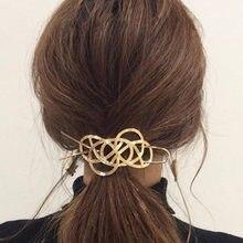 Épingle à cheveux classique en filigrane pour femmes, accessoire de mode, épingle à cheveux en forme de fleur, nœud rond creux, bijoux