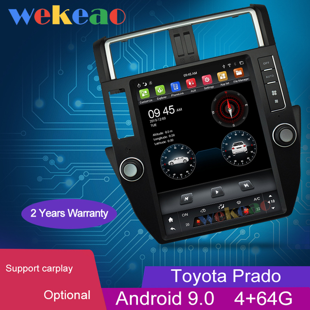 Wekeao tela vertical tesla estilo android 9.0 carro dvd reprodutor multimídia para toyota prado carro automotivo estéreo 4g 10 13