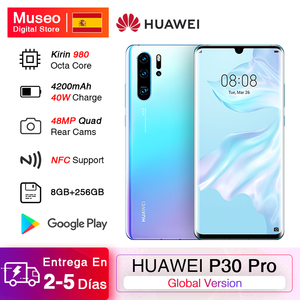 Глобальная версия смартфона Huawei P30 Pro, 8 Гб 256 ГБ, Kirin 980, Восьмиядерный, 50x, цифровой зум, Quad Camera, 6,47 дюймов, полный экран, OLED NFC