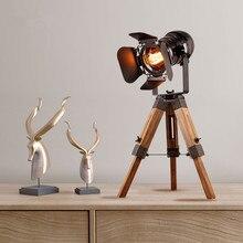 Trípode Vintage lámpara de mesa foco de hierro Woodend base nightstand lámpara artística Deco Loft Vintage Industrial lámpara Accesorios