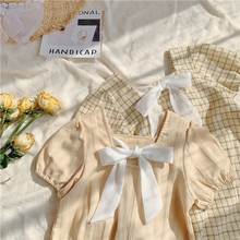 Children's Clothing 2020 Summer Girl's Dress Temperament Back Bow Girls' Princess Dress Beige Fashion Cotton Plaid Fairy Dress girls zip back raw hem plaid dress