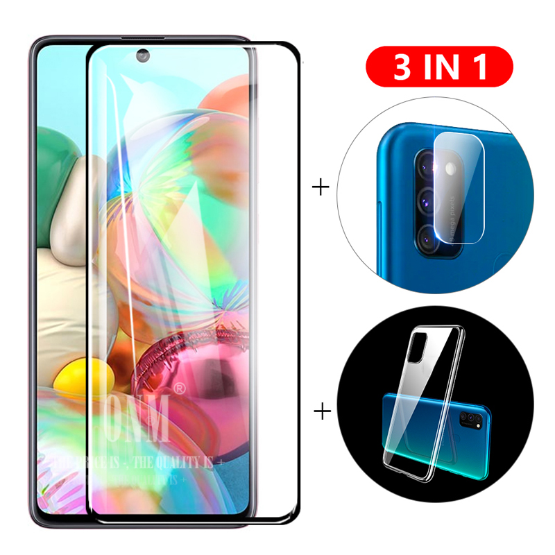 3-in-1 Glass + Case For Samsung Galaxy A51 A71 Screen Protector Tempered Glass for Galaxy A 51 A71 Camera Protector Glass(China)