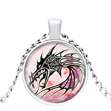 Dragon Pendant Glass Dome Metal Classic Beautiful Lucky Necklace Vintage Men and Women jewelry gift power game necklace ice and fire song necklace personality vintage tangle august dragon pendant
