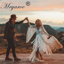Mryarce ที่ไม่ซ้ำกันเจ้าสาวยิปซี Hippie Boho ชุดแต่งงาน Flare แขนสไตล์ชุดเจ้าสาวกับ Fringe