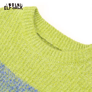 Image 5 - ELFSACK Green Striped Colorblock Knit Straight Dress Women 2020 Winter Pink Long Sleeve Loose Casual Office Ladies Daily Dresses