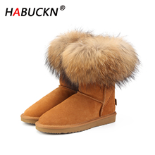 HABUCKN 2020 Fashion Women's Natural Real fox Fur Snow Boots 100% Genuine Cow Leather women Boots Female Warm Winter Boots Shoes 100% natural fur women boots winter warm shoes genuine sheepskin snow boots warm wool women ankle boots