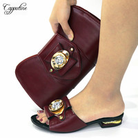 2021 Wine African Woman Slippers And Bag Set to Match African Ladies Lower Heels Summer Shoes With Handbag Purse CR528 2cm 1