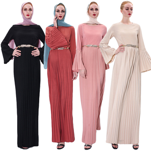 Fashion Abaya Dubai Muslim Women Pleated Dress Flare Sleeve Robe Turkish Kaftan Sashes Belted Party Gown Islamic Clothing Jilbab