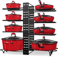 Pot and Pan Organizer for Cabinet Adjustable 8 Non-Slip Tiers Pot Rack with 3 DIY Methods Kitchen Organizer Rack for Pots & Pans